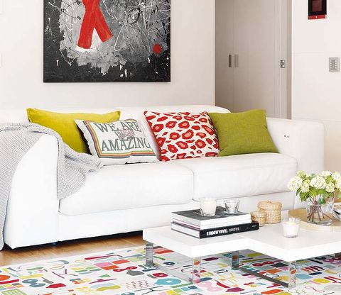 Room, Interior design, Yellow, Green, Living room, Wall, Home, White, Couch, Furniture,