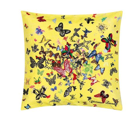 Yellow, Textile, Linens, Cushion, Home accessories, Pattern, Throw pillow, Pillow, Creative arts, Illustration,