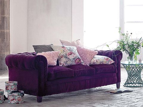 Room, Interior design, Furniture, Wall, Home, Living room, Purple, Throw pillow, Pillow, Interior design,