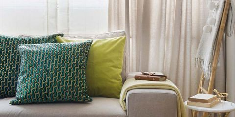 Furniture, Room, Interior design, Lampshade, Curtain, Green, Yellow, Product, Living room, Lighting,