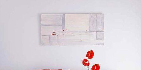 Room, Interior design, Wall, Red, Furniture, Orange, Floor, Interior design, Living room, Couch,