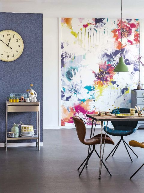 Room, Interior design, Floor, Furniture, Wall, Table, Flooring, Interior design, Turquoise, Home accessories,