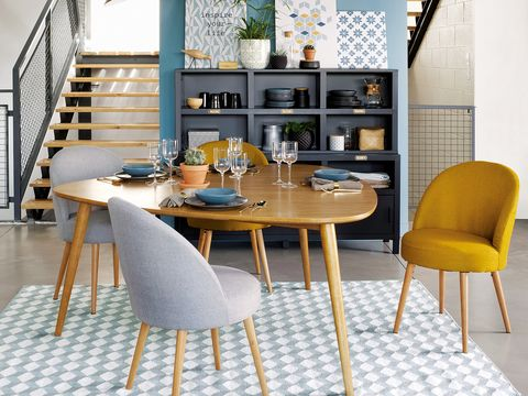 Furniture, Dining room, Room, Table, Chair, Interior design, Yellow, Desk, Building, Design,