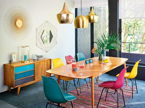Dining room, Furniture, Room, Table, Turquoise, Interior design, Yellow, Property, Chair, Wall,