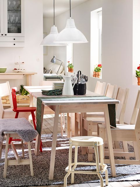 Furniture, White, Room, Dining room, Table, Interior design, Property, Stool, Chair, Kitchen,