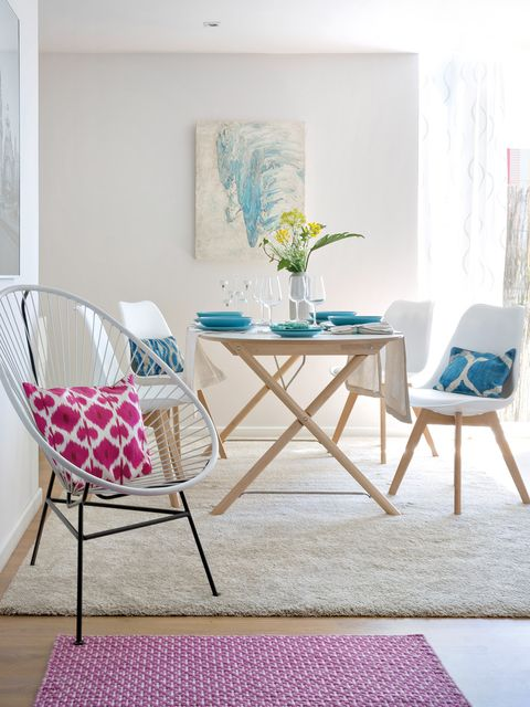 Furniture, Room, Table, Chair, Interior design, Pink, Coffee table, Turquoise, Dining room, House,