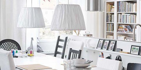 Room, Interior design, Textile, Furniture, Table, White, Style, Tablecloth, Wall, Interior design,
