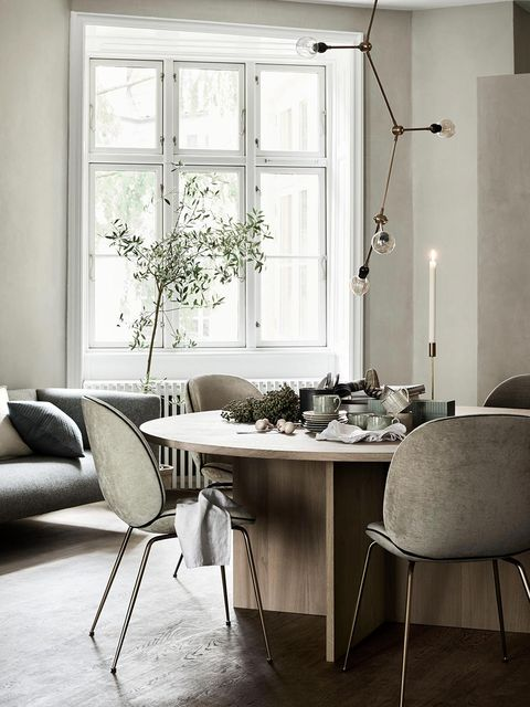 Room, White, Furniture, Interior design, Table, Dining room, Floor, Home, Living room, Black-and-white,