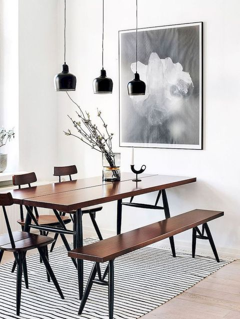 Furniture, Table, Room, Dining room, Black-and-white, Interior design, Design, Chair, Material property, Monochrome photography,