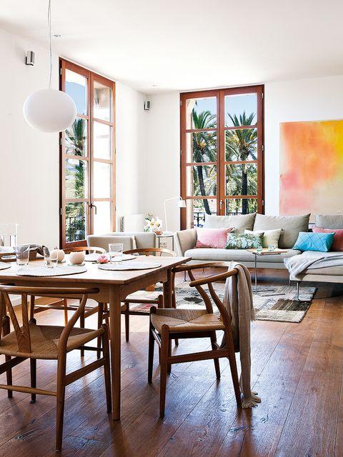 Wood, Room, Interior design, Floor, Furniture, Table, Flooring, Hardwood, Wall, Home,