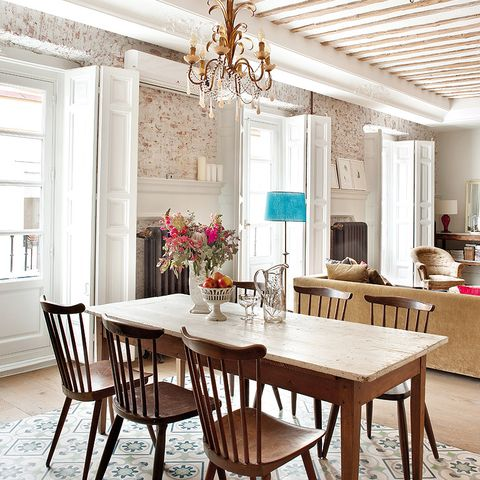 Room, Interior design, Floor, Table, Furniture, Light fixture, Ceiling, Chandelier, Flooring, Ceiling fixture,