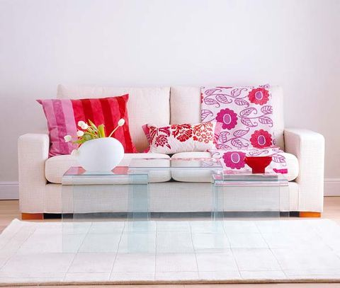 Room, Interior design, Furniture, Pink, Pillow, Cushion, Wall, Throw pillow, Flooring, Purple,