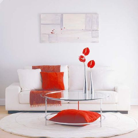 Interior design, Room, Wall, Red, Orange, Furniture, Carmine, Interior design, Grey, Paint,