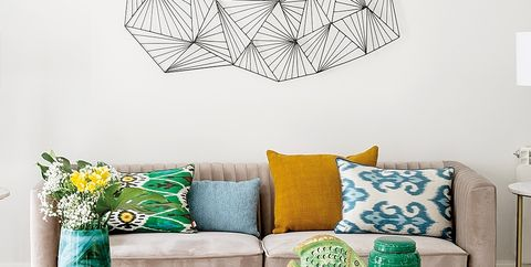 Wall, Room, Living room, Lampshade, Interior design, Lighting accessory, Leaf, Pattern, Design, Furniture,