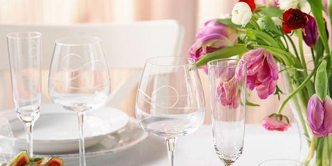 Serveware, Glass, Dishware, Drinkware, Stemware, Tableware, Petal, Wine glass, Barware, Pink,