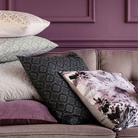 Room, Interior design, Textile, Furniture, Throw pillow, Cushion, Purple, Pillow, Living room, Interior design,
