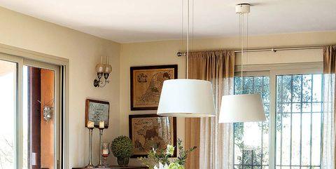 Interior design, Room, Table, Floor, Furniture, Interior design, Flooring, Ceiling, Home, Lampshade,