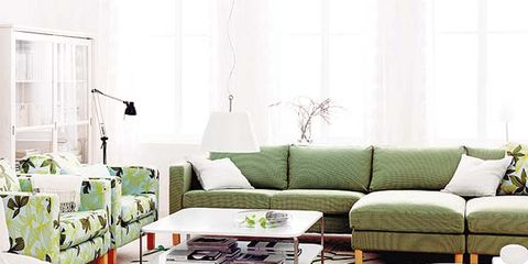 Interior design, Room, Green, Living room, Home, Furniture, White, Couch, Table, Wall,