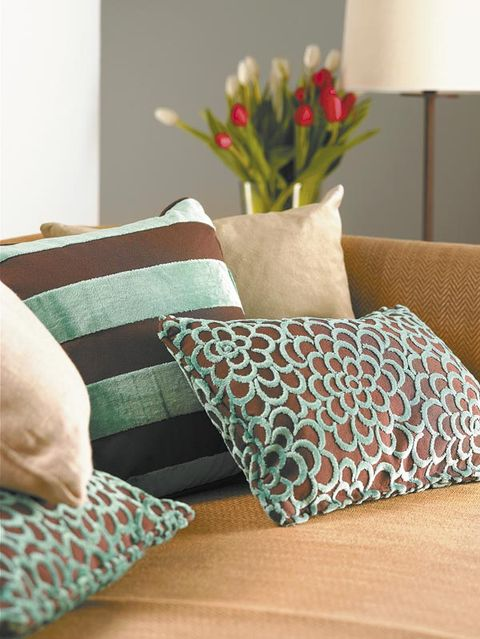 Room, Throw pillow, Petal, Cushion, Pillow, Interior design, Home accessories, Linens, Teal, Turquoise,