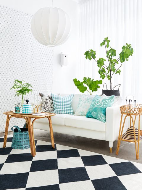 Green, Room, Interior design, Branch, Furniture, White, Floor, Home, Couch, Wall,