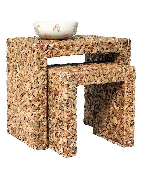 Serveware, Rectangle, Beige, Khaki, Dishware, Home accessories, Bowl, Porcelain, Natural material, Wicker,