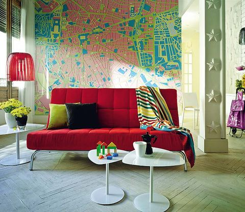Blue, Green, Interior design, Room, Yellow, Floor, Living room, Wall, Furniture, Couch,