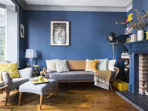 Blue, Room, Interior design, Yellow, Wood, Home, Living room, Wall, Furniture, Couch,