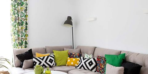 Interior design, Yellow, Green, Room, Living room, Furniture, Wall, White, Couch, Home,