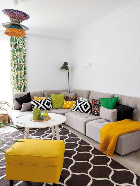 Room, Yellow, Interior design, Wall, Floor, Furniture, Living room, Home, Flooring, Couch,