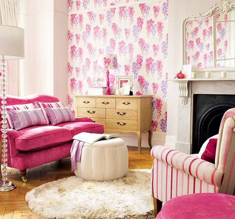 Wood, Interior design, Room, Floor, Home, Flooring, Furniture, Wall, Textile, Pink,
