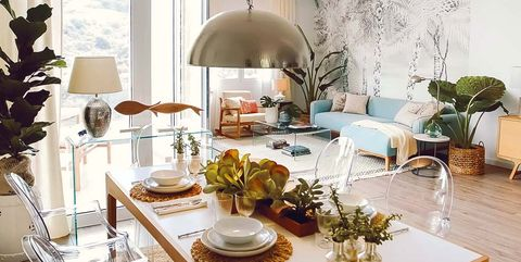 Dining room, Room, Furniture, Interior design, Property, Table, Home, Yellow, Living room, Building,