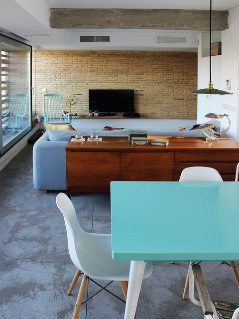 Room, Interior design, Floor, Table, Furniture, Ceiling, Flooring, Interior design, Chair, Countertop,