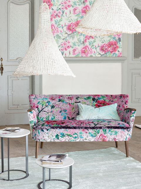 Blue, Room, Interior design, Furniture, Textile, Wall, Lampshade, Pink, Home, Table,