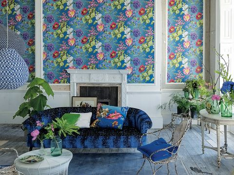 Blue, Interior design, Room, Wall, Majorelle blue, Furniture, Living room, Home, Table, Couch,
