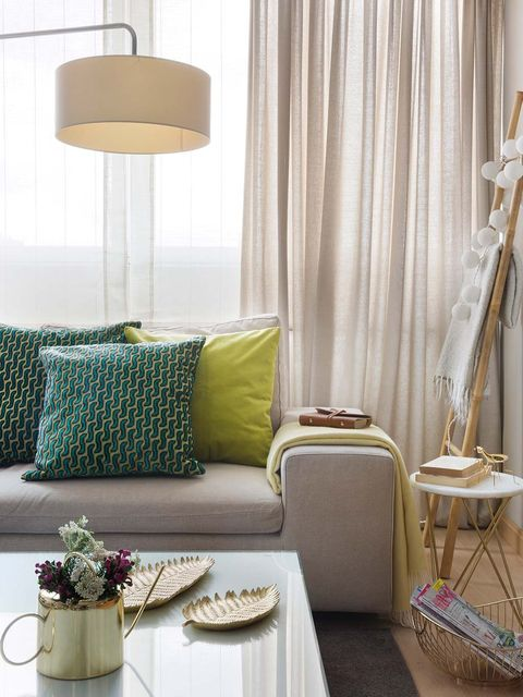 Furniture, Room, Interior design, Green, Curtain, Product, Yellow, Lampshade, Living room, Purple,