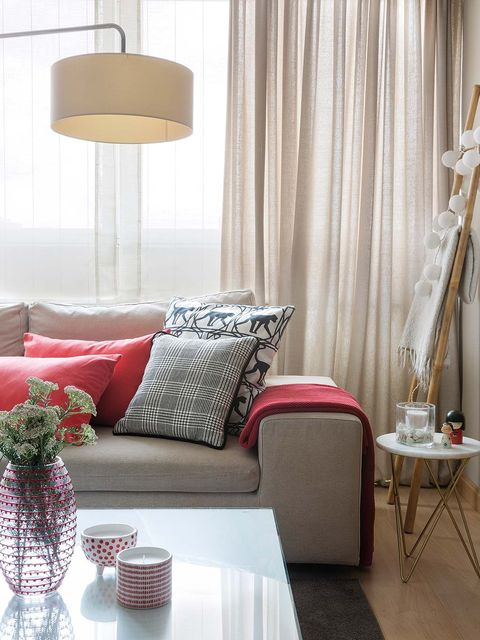 Furniture, Room, Interior design, Living room, Curtain, Property, Pink, Floor, Lighting, Couch,