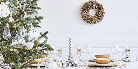 White, Table, Room, Furniture, Tablecloth, Christmas decoration, Textile, Branch, Interior design, Dining room,