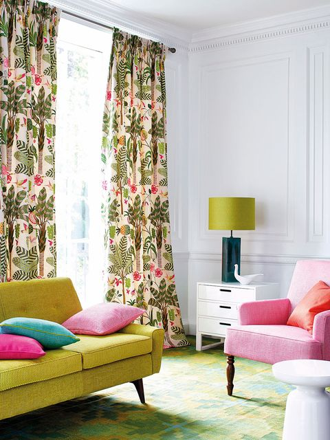 Curtain, Living room, Interior design, Room, Pink, Furniture, Green, Window treatment, Wall, Window covering,