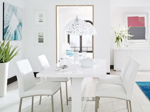 Room, Interior design, Table, Furniture, White, Floor, Interior design, Turquoise, Chair, Teal,