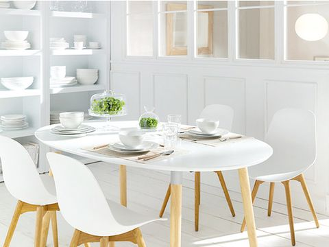Room, Table, Furniture, White, Dishware, Interior design, Shelf, Serveware, Dining room, Home,