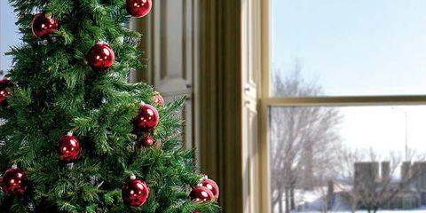 Tablecloth, Serveware, Red, Table, Interior design, Tableware, Christmas tree, Interior design, Glass, Dishware,