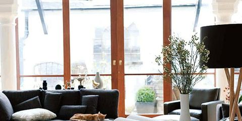 Interior design, Room, Table, Furniture, Floor, Flooring, Couch, Interior design, Lamp, Daylighting,
