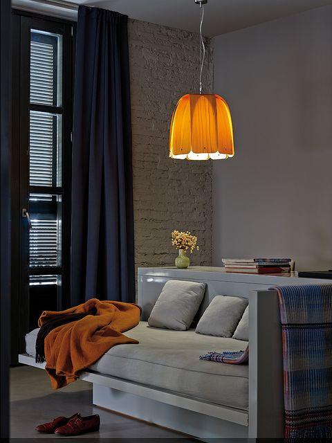 Blue, Interior design, Room, Textile, Light fixture, Orange, Wall, Interior design, Lampshade, Amber,