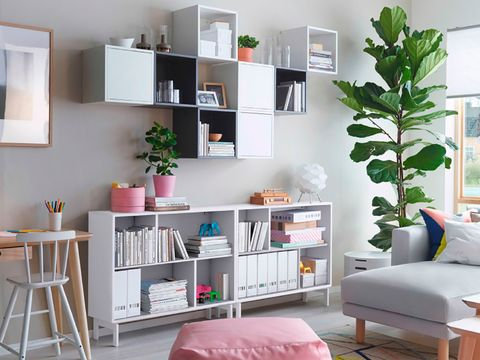 Room, Interior design, Wall, Shelving, Furniture, Shelf, Home, Interior design, Grey, Teal,