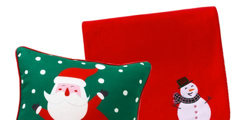 Green, Textile, Red, White, Carmine, Christmas, Pillow, Pattern, Cushion, Fictional character,