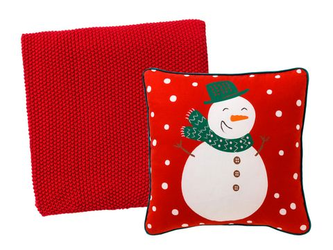 Textile, Red, Pattern, Snowman, Home accessories, Throw pillow, Cushion, Rectangle, Pillow, Design,