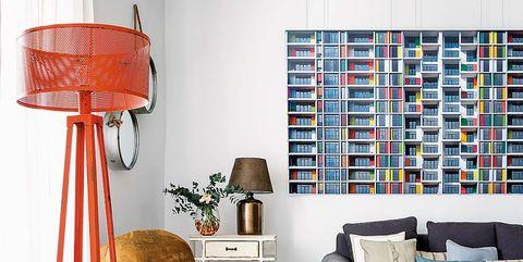 Living room, Furniture, Room, Interior design, Lamp, Turquoise, Lampshade, Floor, Wall, Lighting,