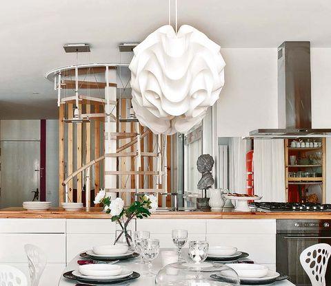 Room, Serveware, Interior design, Dishware, Interior design, Porcelain, Home, Grey, Light fixture, Home accessories,