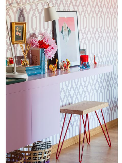 Furniture, Turquoise, Pink, Table, Room, Interior design, Orange, Dining room, Chair, Magenta,