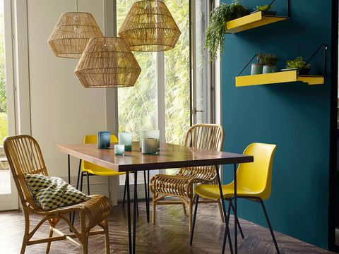 Room, Yellow, Furniture, Interior design, Table, Lampshade, Chair, Floor, Glass, Fixture,